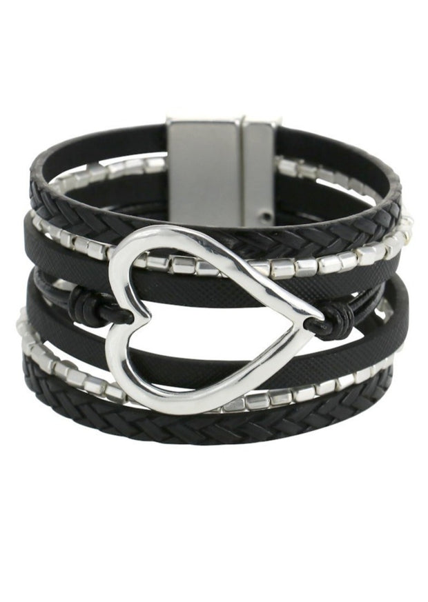 MERX - HEART SNAP BRACELET - BLACK