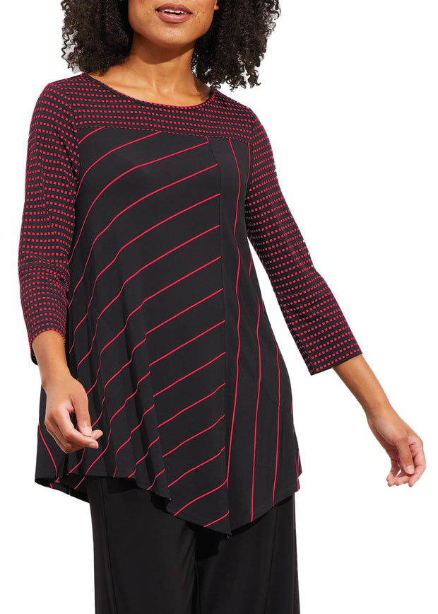 CONTRAST STRIPE V HEM TUNIC TOP