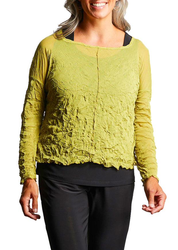 MESH CROP TOPPER - CITRON