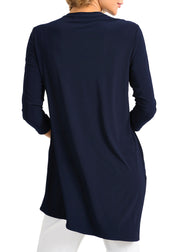 ASYMMETRICAL V NECK TOP - MIDNIGHT BLUE