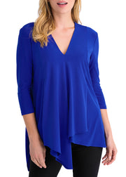 ASYMMETRICAL V NECK TOP - ROYAL SAPPHIRE