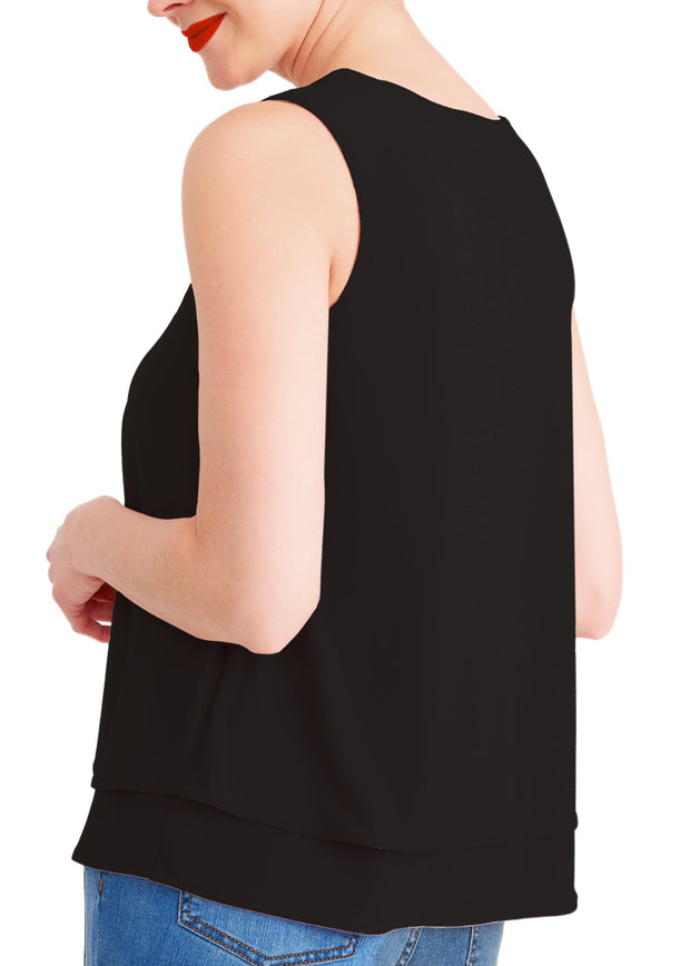 V NECK DOUBLE LAYERED TANK TOP