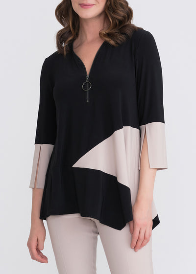 JOSEPH RIBKOFF - ASYMMETICAL 3/4 SLEEVE TOP