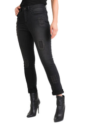 JOSEPH RIBKOFF – DISTRESSED METAL DETAIL DENIM JEANS