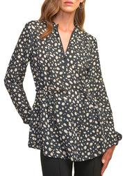 DOTTED DRAWSTRING TUNIC TOP