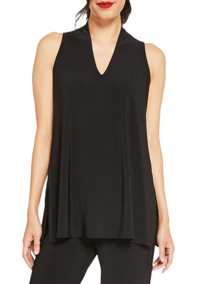 SLEEVELESS DEEP V TUNIC - BLACK