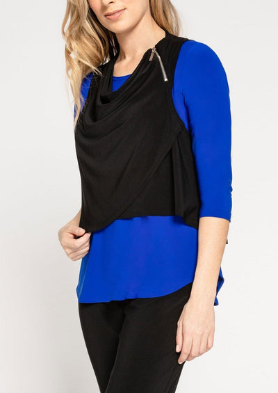 ZEST CROP SMOCK TOP - BLACK