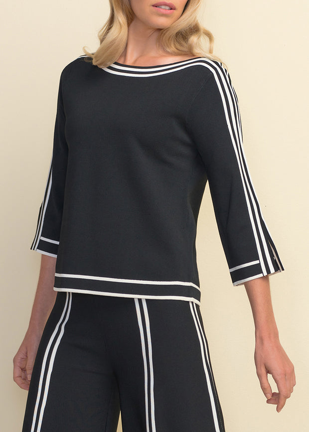 JOSEPH RIBKOFF - BELL SLEEVE STRIPED SHIRT