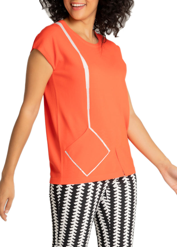 ASYMMETRICAL POCKET SHORT SLEEVE TOP