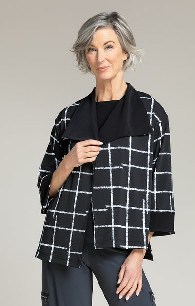 ETCH REVERSIBLE JACKET PATTERN - CROSSHATCH BLACK
