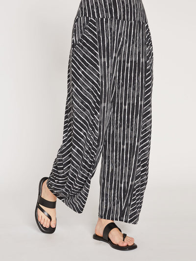 LANTERN PANT, PATTERN - PAINTED LINES, BLACK