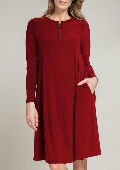 ZEST DRESS - 28110X-3 - BRICK RED