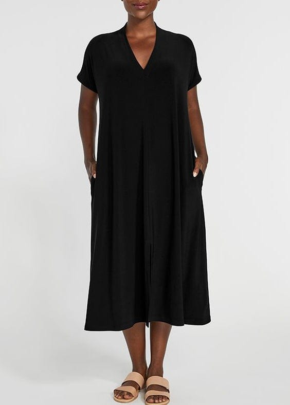 SYMPLI -  DEEP V SHORT SLEEVE DRESS