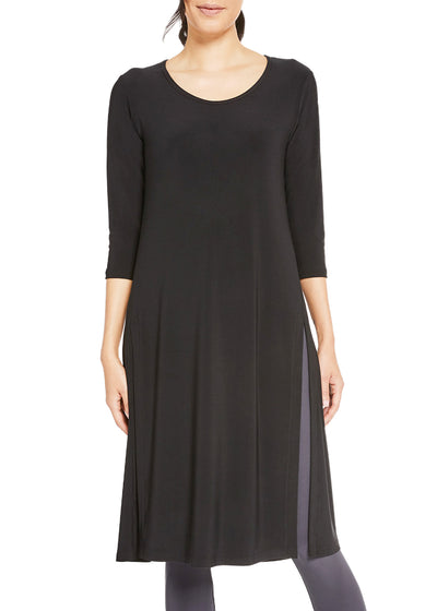 HIGH SLIT OVER UNDER 3/4 SLEEVE DRESS - BLACK