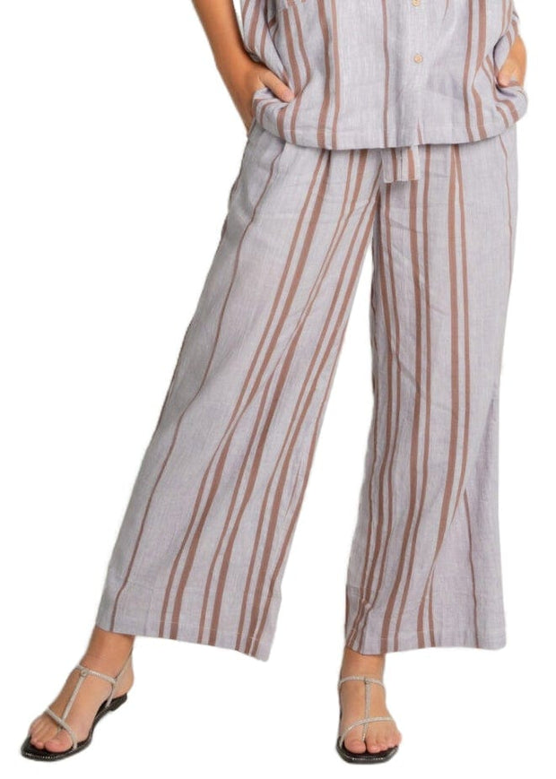 STRIPED WIDE LEG LINEN PANT