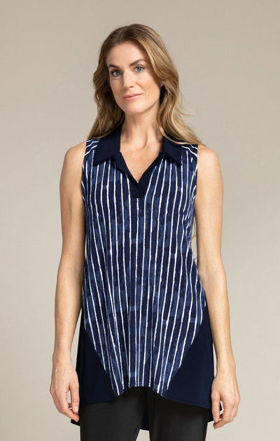 SLEEVELESS BOP TOP - PAINTED LINES, NAVY