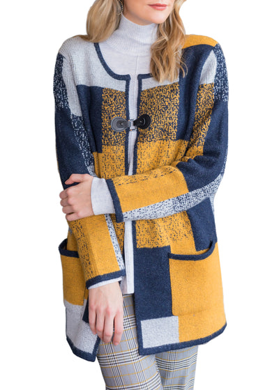 COLOUR BLOCKED LOOP CARDIGAN
