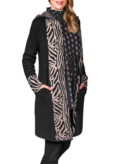 PATTERN TRIMMED OPEN CARDIGAN - TIGER