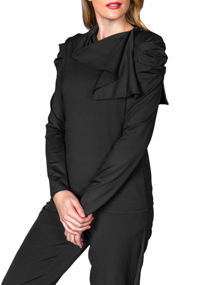 DRAPED LONG SLEEVE TOP - BLACK