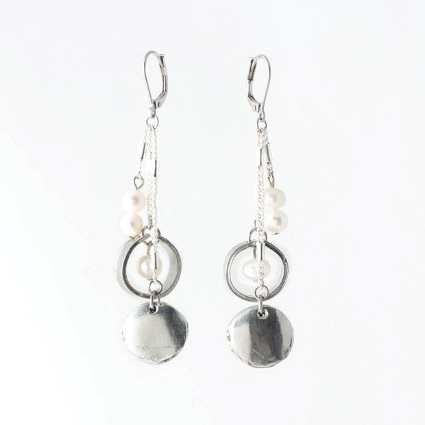 458641 Anne-Marie Chagnon Simon Earrings  Pewter & Pearl