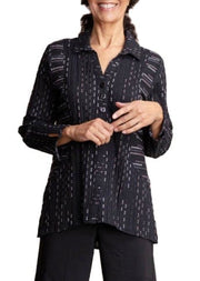 PRINCESS PANELED STRIPED SHIRT - BLACK