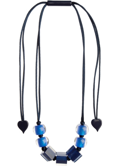 COLOURFUL CUBES NECKLACE - NAVY/ROYAL