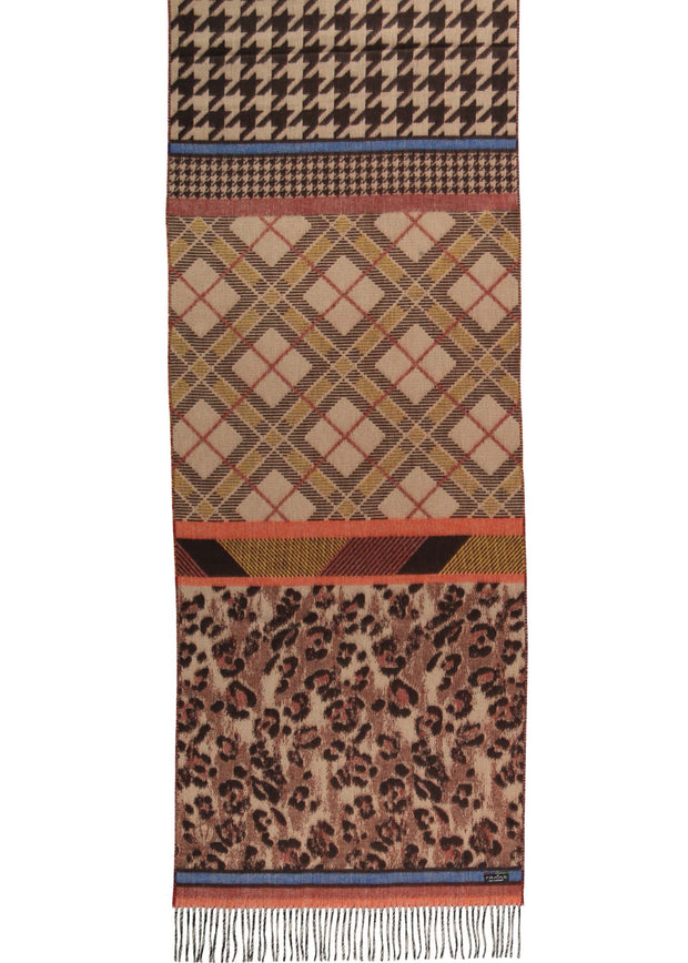 ANIMAL PATCHWORK SCARF - CAMEL