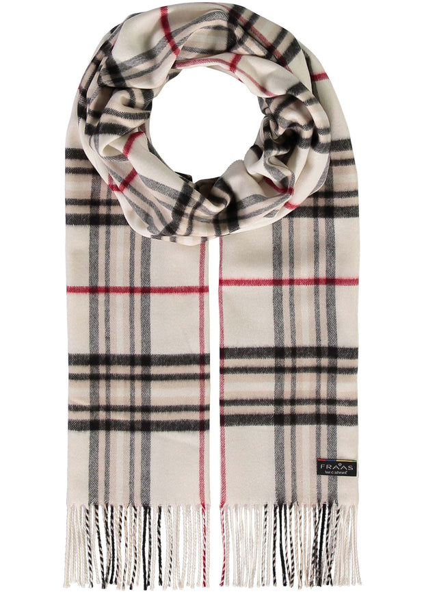 OVERSIZED PLAID CASHMINK SCARF - OFF WHITE