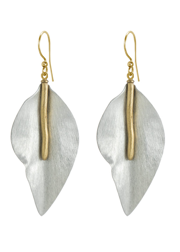 BRUSHED LEAF DANGLE EARRINGS
