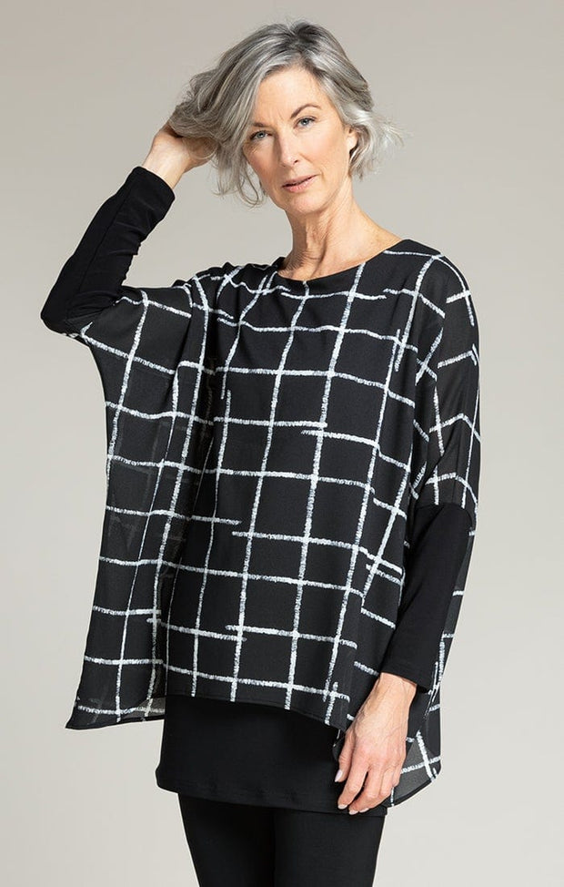 WHISPER TWIN LONG SLEEVE TUNIC - CROSSHATCH BLACK