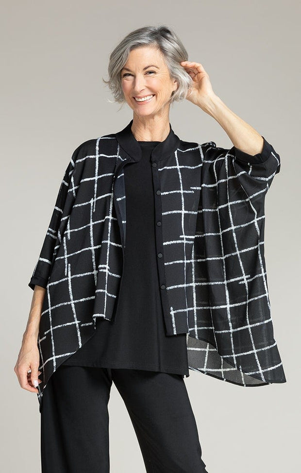 WHISPER BOXY SHIRT - CROSSHATCH BLACK