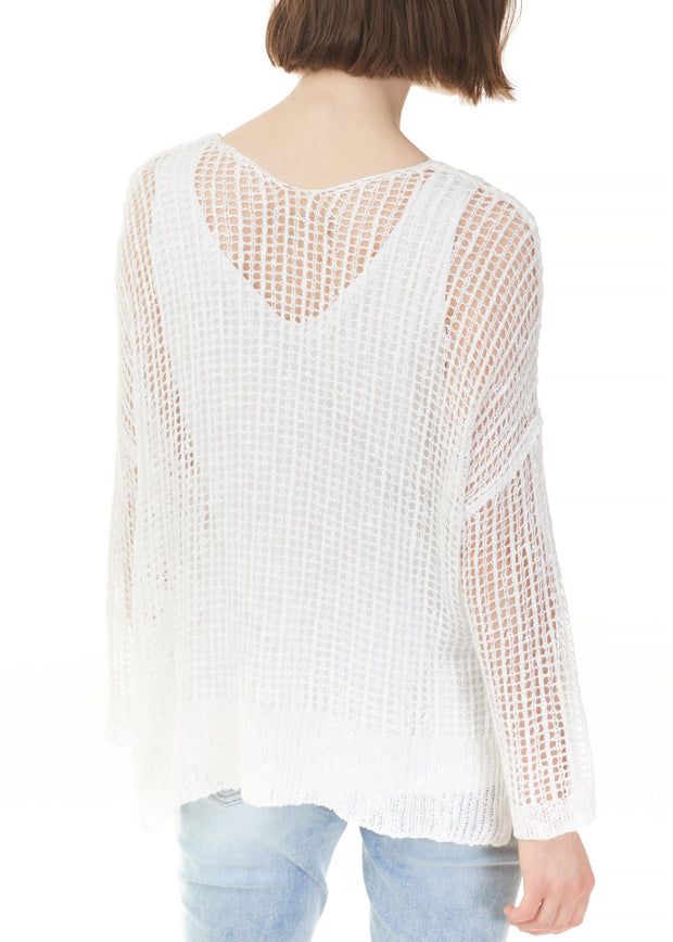 CHARLIE B - CROCHET MESH SWEATER