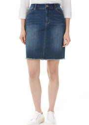 CHARLIE B - RAW EDGED DENIM SKORT