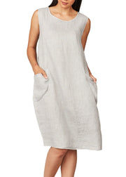 PISTACHE - LINEN KNEE LENGTH DRESS