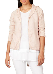 CONTRAST FABRIC BOMBER JACKET
