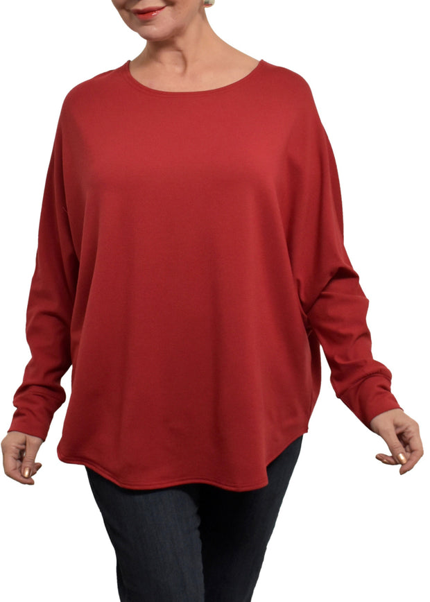 BAMBOO FRENCH BOXY TOP - SCARLET