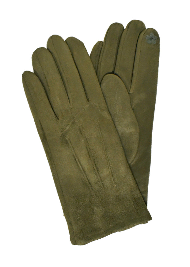 SUEDE SHORT GLOVES - OLIVE