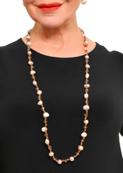 WANTED - LONG STRAND PEARL, CRYSTAL KNOTTED NECKLACE