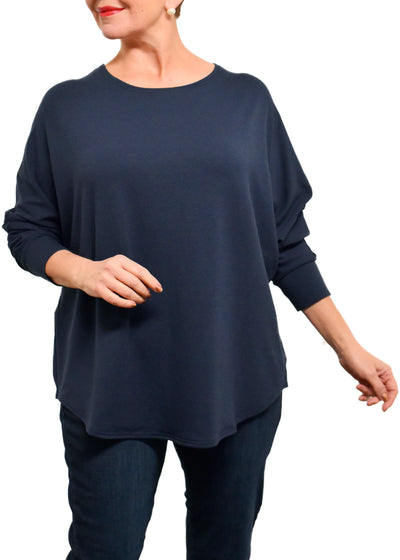 BAMBOO FRENCH BOXY TOP - NAVY