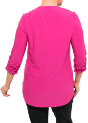 JOSEPH RIBKOFF - V NECK ZIPPERED TUNIC TOP - ORCHID