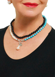 WANTED - ASYMMETRICAL AGATE AND PEARL NECKLACE