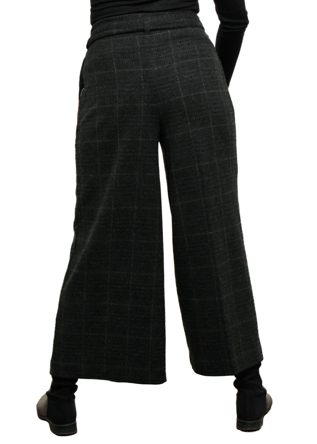 CROP BRUSHED PLAID PANT
