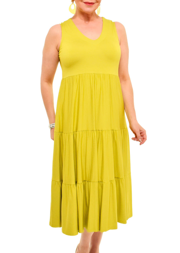 PURE - SLEEVELESS TIERED MIDI DRESS
