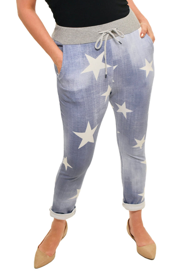 CATHERINE LILLYWHITES - ROLLED CUFF JOGGER - 1056468 - BLUE WITH STARS