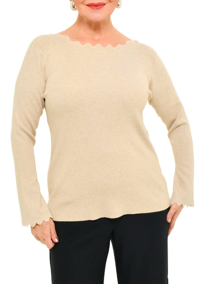 SCALLOP DETAIL SWEATER - ECRU
