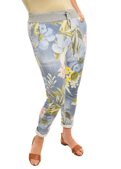 ROLLED CUFF JOGGER  - LARGE FLOWER LIGHT DENIM LOOK - 1056514