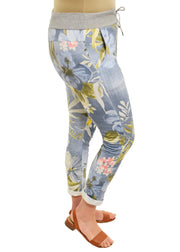 ROLLED CUFF JOGGER  - LARGE FLOWER LIGHT DENIM LOOK