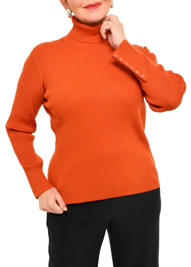 RIBBED TURTLENECK SWEATER - RUST