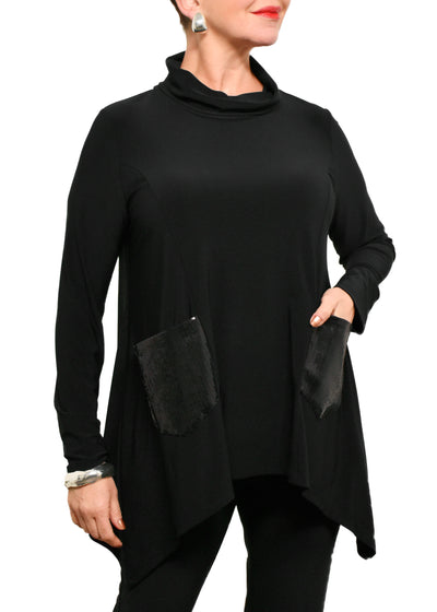 JOSEPH RIBKOFF - SEQUIN POCKET COWL NECK TOP - BLACK