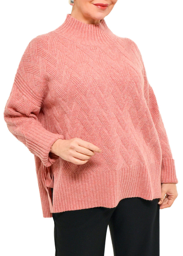 SIDE TIE SWEATER - ROSE